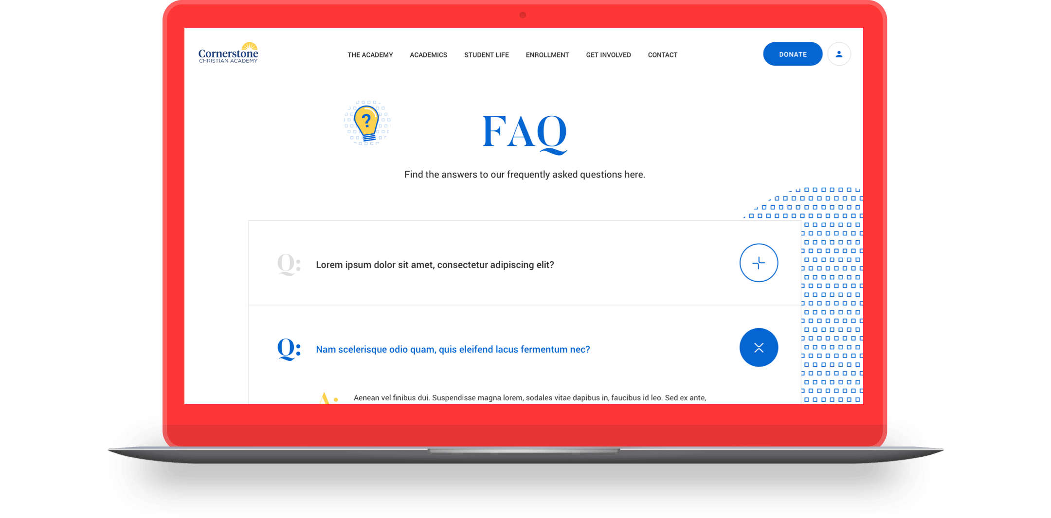 FAQ page preview